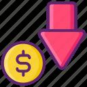 arrow, dollar, down, loss icon