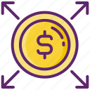 dollar, funds, investment, mutual, profit icon
