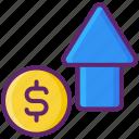 arrow, growth, money, profit, up icon