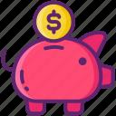 bank, dollar, money, piggy, savings icon