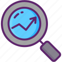 magnifying glass, research, screeners, stock icon