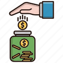business, investments, jar, money, saving icon