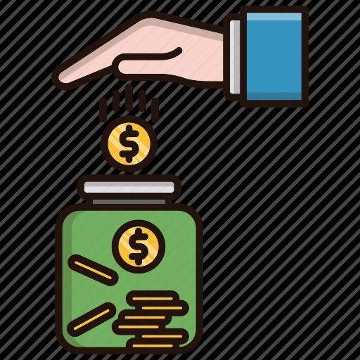 business, investments, jar, money, saving icon