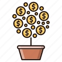 business, growth, investments, tree icon