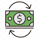 cash, currency, flow, money icon