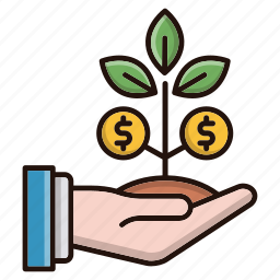 business, currency, growth, investments, plant icon
