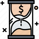 glass, hourglass, money, time, timer icon