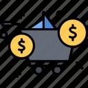 cart, dollar, money, shopping icon