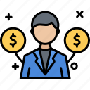 business, invester, man, money, user icon
