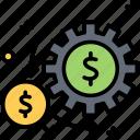 coin, finance, gear, money, wealth icon