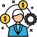gear, money, settings, user icon