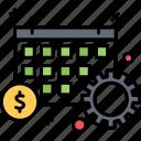 banking, calendar, dollar, money, time icon
