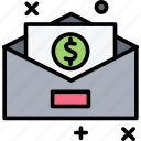 email, envelope, letter, mail, money icon