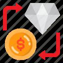 currency, diamond, dollar, exchange, money icon