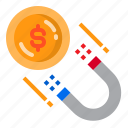 attraction, finance, magnet, magnetic, money icon