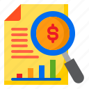 bar, business, graph, money, report, search icon