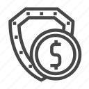 money, security, investment, shield icon