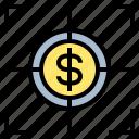 coin, goal, money, profit, target