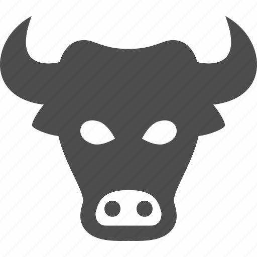 bull, bull market, business, finance, head, investment, stock market icon