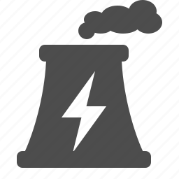 energy, factory, industry, nuclear, power plant, smoke icon