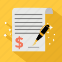 business, document, dollar, finance, ivoice, money, siganture icon