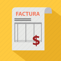 bill, document, dollar, factura, invoice, order, pay icon