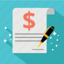 contract, document, dollar, finance, guarantee, invoice, signature icon