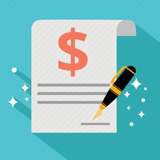 contract, document, dollar, finance, guarantee, invoice, signature icon