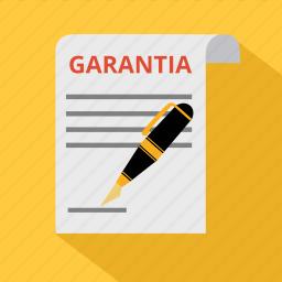 agreement, document, garantia, guarantee, guaranteed, pen, warranty icon