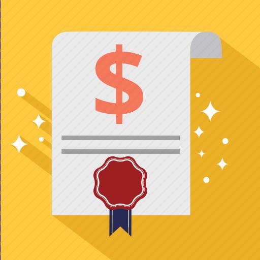 budget, check, document, dollar, guarantee, invoice, sales icon