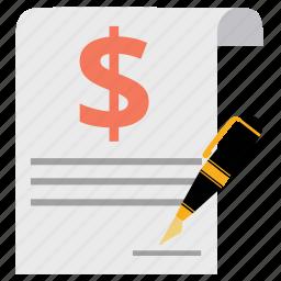 agreement, contract, guarantee, invoice, money, pen, signature icon