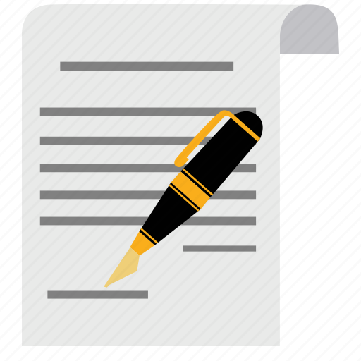 agreement, contract, document, guarantee, paper, pen, signature icon
