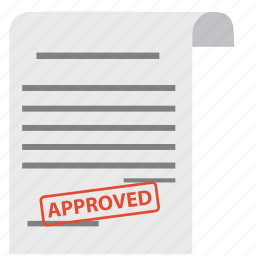 approve, approved, contract, document, guarantee, paper, satisfaction icon