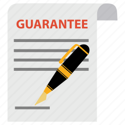 document, guaranted, guarantee, guaranty, pen, satisfaction, warranty icon