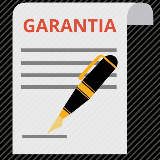 document, garantia, guaranted, guarantee, guaranty, pen, warranty icon