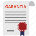 document, emblem, garantia, guaranted, guarantee, guaranty, warranty icon