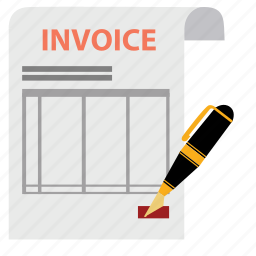 bill, document, invoice, money, order, payment, pen icon