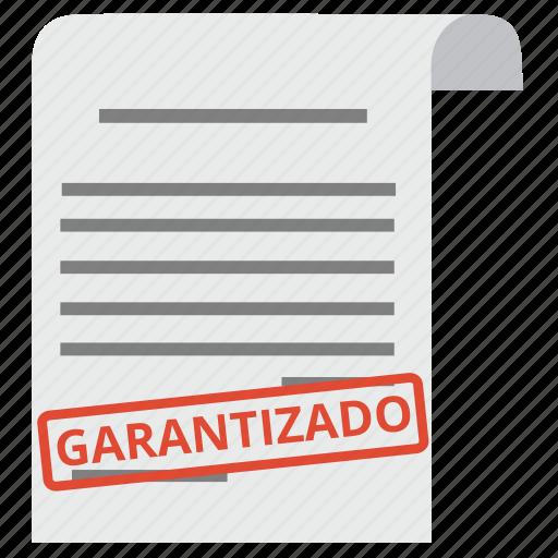 document, garantizado, guarantee, guaranteed, guaranty, satisfaction, warranty icon