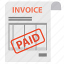 bill, check, document, invoice, order, paid, payment