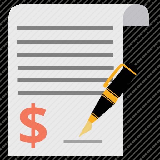 agreement, contract, ecommerce, invoice, money, pen, signature icon