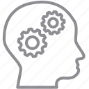 brain, gears, idea, memory, mind, think, thinking icon