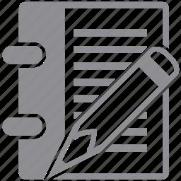document, edit, paper, pen, pencil, record, write icon