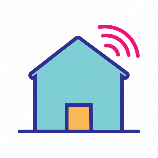 home automation, home network, intelligent home, internet of things, iot, smart home, wifi icon