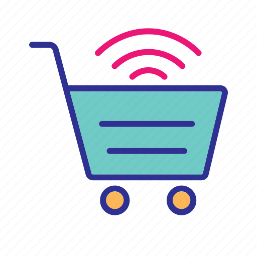 internet of things, iot, online shopping, shopping cart, wifi enabled cart, wireless network icon