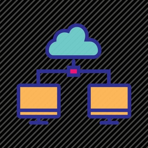 cloud computing, cloud network, cloud storage, communication, data center, network server icon