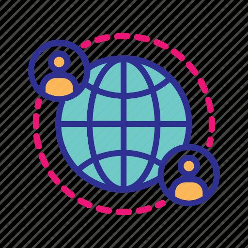 global communication, global community, global contacts, global network, international business, internet icon