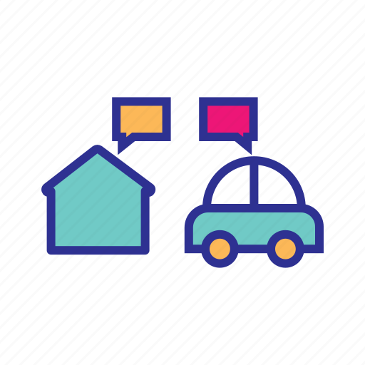 intelligent home, internet of things, iot, smart car, smart home, smart vehicle icon