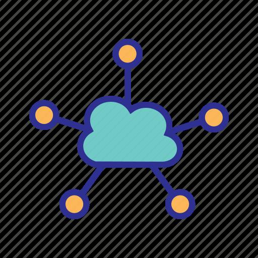cloud clients, cloud computing, cloud network, cloud storage, network server, service provider icon