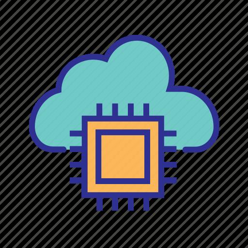 cloud computing, cloud data center, cloud network, hosting, paas, seo icon