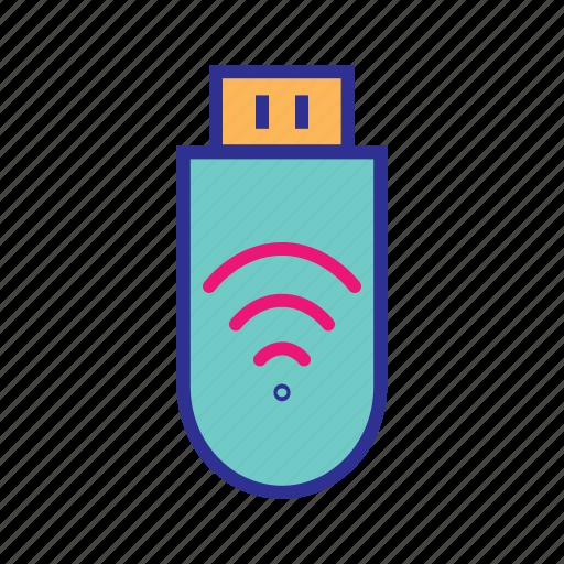 data, memory stick, portable storage, portable wifi, wireless device icon